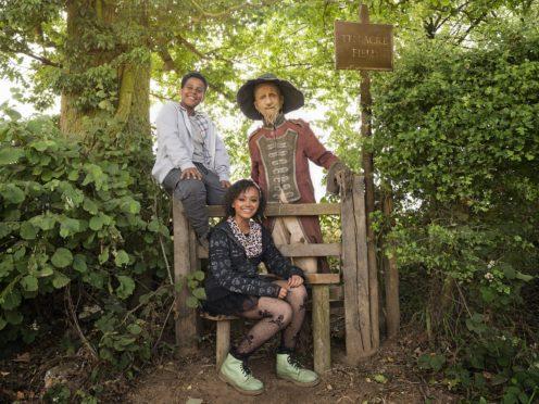 Thierry Wickens, India Brown and Mackenzie Crook in Worzel Gummidge (Amanda Searle/PA)