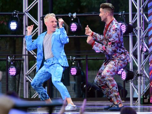 Jamie Laing and David James at the red carpet launch of Strictly Come Dancing 2019 (Ian West/PA)
