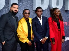 Drake, Ashley Walters, Micheal Ward and Little Simz attending the UK premiere of Top Boy (Ian West/PA)