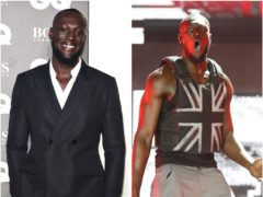 Stormzy on the red carpet at the GQ awards and on stage at Glastonbury (PA)