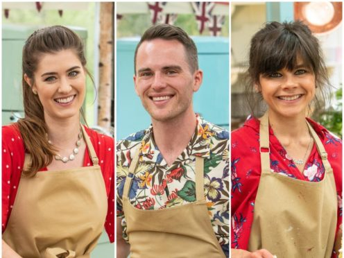 Great British Bake Off finalists Alice, David and Steph (Channel 4/PA)