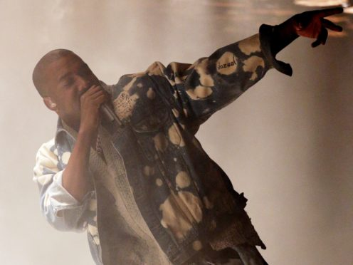 Kanye West performing on The Pyramid Stage at the Glastonbury Festival (Yui Mok/PA)