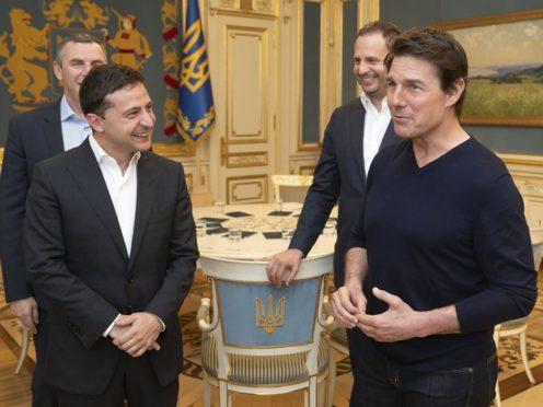 Volodymyr Zelenskiy and Tom Cruise (Ukrainian Presidential Press Office via AP)