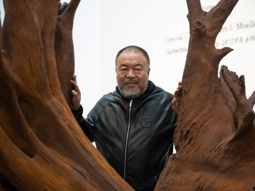 Chinese artist Ai Weiwei opening his new exhibition at the Lisson Gallery, London (Aaron Chown/PA)