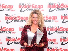 Louisa Clein with the Best Shock Twist and Best Bad Girl awards the Inside Soap Awards 2019 held at Sway, Covent Garden (Ian West/PA)