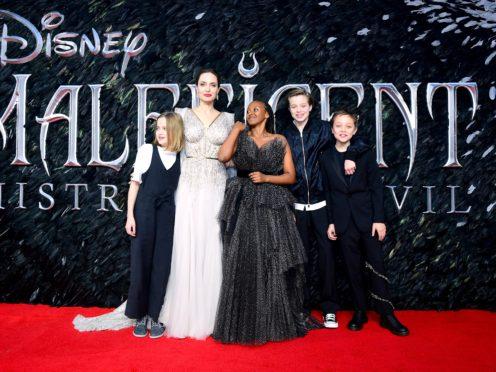 Angelina Jolie with children (left to right) Vivienne Marcheline Jolie-Pitt, Zahara Marley Jolie-Pitt, Shiloh Nouvel Jolie-Pitt and Knox Leon Jolie-Pitt (Ian West/PA)