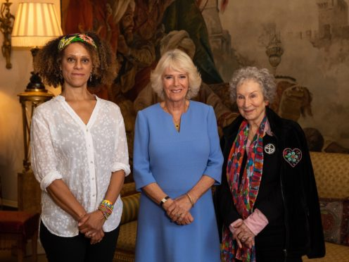 The Duchess of Cornwall with 2019 Booker prize winners Bernardine Evaristo and Margaret Atwood during a tea at Clarence House (Aaron Chown/PA)