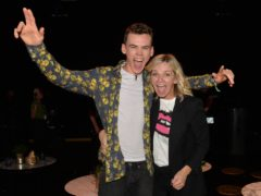 Finalist Woody Cook with his mother, Zoe Ball, following the live final of the second series of Channel 4's The Circle, in Salford, Manchester. (Peter Powell/PA)