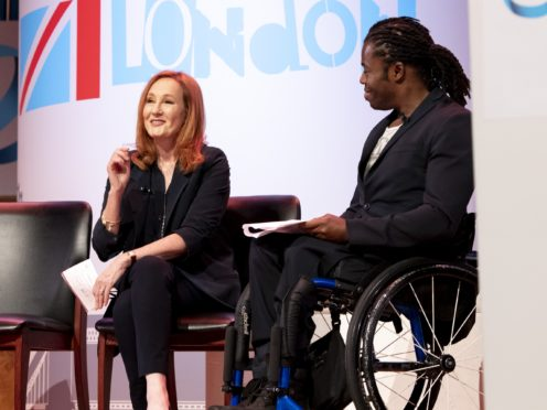 JK Rowling speaking at the One Young World summit in central London (One Young World/PA)
