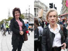 Ruby Wax and Juliet Stevenson at the Extinction Rebellion protest (Jonathan Brady/PA)