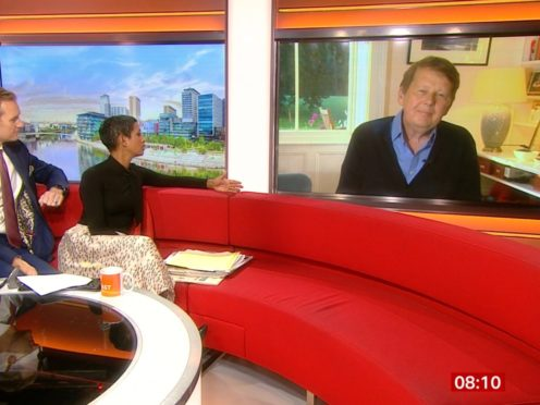 EDITORS NOTE: We are advised that video-grabs should not be used by daily papers later than 48 hours after the broadcast of the programme, without consent of the copyright holder. For use in UK, Ireland or Benelux countries only Screengrab from BBC Breakfast of Bill Turnbull (right) with BBC Breakfast presenters Naga Munchetty and Dan Walker. Turnbull was reunited with his former co-stars as he appeared on the programme to talk about living with cancer. PA Photo. Issue date: Tuesday October 22, 2019. See PA story SHOWBIZ Turnbull. Photo credit should read: BBC/PA WireNOTE TO EDITORS: Not for use more than 21 days after issue. You may use this picture without charge only for the purpose of publicising or reporting on current BBC programming, personnel or other BBC output or activity within 21 days of issue. Any use after that time MUST be cleared through BBC Picture Publicity. Please credit the image to the BBC and any named photographer or independent programme maker, as described in the caption.