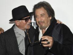 Joe Pesci, left, and Al Pacino attend the world premiere of The Irishman in New York (Evan Agostini/Invision/AP)
