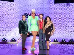 Alan Carr, RuPaul, Andrew Garfield, Michelle Visage on RuPaul's Drag Race UK (BBC/PA)