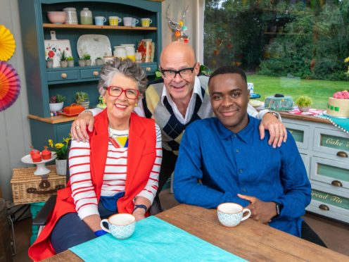 Prue Leith, Harry Hill and Liam Charles (Love Productions/Mark Bourdillion/Channel 4)