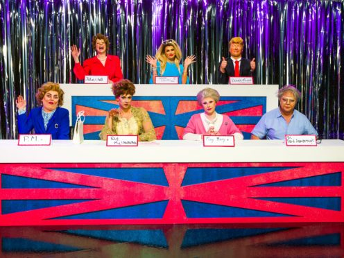 The remaining queens on RuPaul's Drag Race UK take part in the Snatch Game (BBC/Guy Levy/PA)