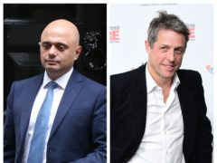 Sajid Javid and Hugh Grant (Jonathan Brady/Ian West/PA)
