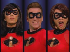Anton Du Beke, Katya Jones, Janette Manrara and AJ Pritchard in costume as The Incredibles (BBC/PA)