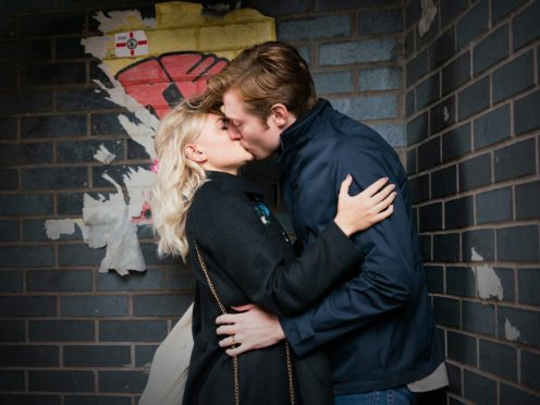 Coronation Street's Daniel Osbourne (Rob Mallard) kisses Bethany Platt (Lucy Fallon) (ITV/PA)