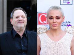 Harvey Weinstein and Rose McGowan (Ian West/PA)