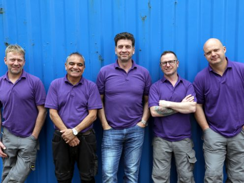 The UK DIY SOS team Chris Frediani, Billy Byrne, Nick Knowles, Mark Millar and Julian Perry (BBC/PA)
