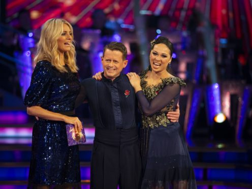 Tess Daly with Mike Bushell and Katya Jones (Guy Levy/BBC)