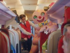 Mr Blobby features in a celebrity-filled music video featuring Sir Richard Branson (Virgin Trains/PA)