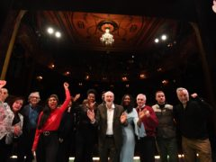 Labour Party leader Jeremy Corbyn (centre) on stage with colleagues and performers after announcing his party's 'arts for all' policy (Kirsty O'Connor/PA)