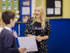 Unicef Ambassador Emma Bunton during a visit to George Spicer School, Enfield (Unicef UK/PA)