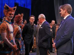 The Prince of Wales meets cast members and choreographer Liam Scarlett (centre) at the world premiere of The Cunning Little Vixen at the Royal Opera House in London (Gareth Fuller/PA)