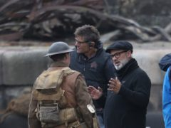 Director Sam Mendes (right) with actor George Mackay on the set of his new film 1917 (Andrew Milligan/PA)