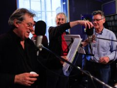 Andre Jacquemin, Monty Python's long-standing sound engineer, with Terry Jones and Michael Palin at the Redwood Recording Studios (Andre Jacquemin/PA)