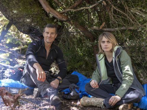Bear Grylls and Cara Delevingne in Sardinia, Italy (National Geographic/Ben Simms/PA)