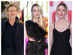 Brad Pitt, Margot Robbie and Saoirse Ronan (PA)