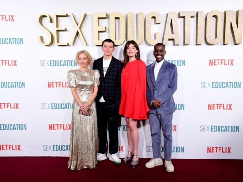 Sex Education stars Gillian Anderson (left to right), Asa Butterfield, Emma Mackey, Ncuti Gatwa (Ian West/PA)