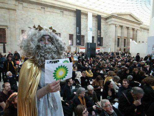Protest at the British Museum against BP's sponsorship of the Troy exhibition (Jonathan Brady/PA Wire)