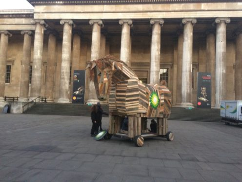 Protesters take Trojan Horse to the British Museum (BP Or Not BP?/PA)