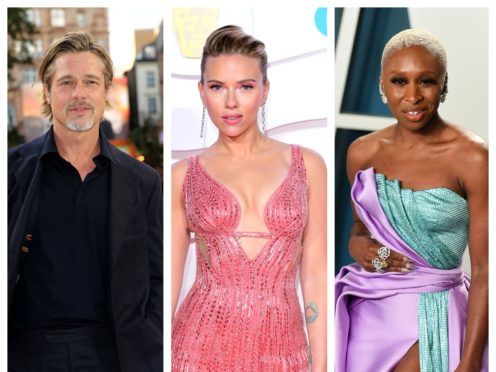Brad Pitt, Scarlett Johansson and Cynthia Erivo (Ian West/PA)