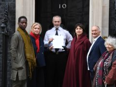 The letter was handed in to Downing Street (Stefan Rousseau/PA)