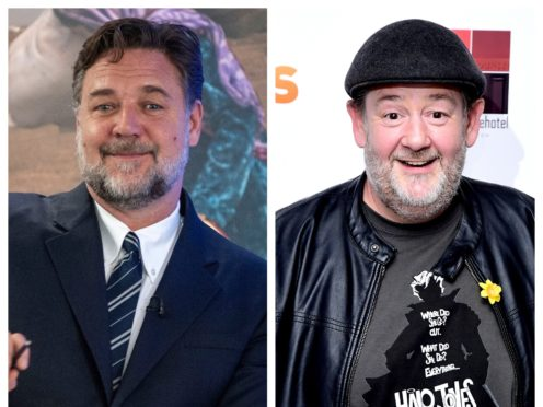 Russell Crowe and Johnny Vegas (PA)