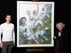 Sir Andy Murray and Maggi Hambling with the painting (David Parry/National Portrait Gallery)