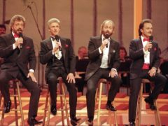 The Statler Brothers, from left, Harold Reid, Phil Balsley, Don Reid, and Jimmy Fortune, performing in Nashville, Tennessee, in 1992 (AP)