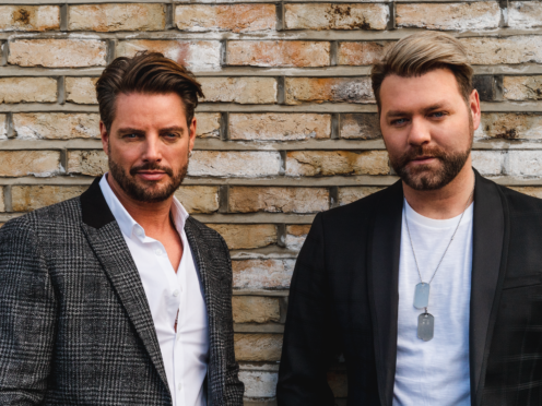 Keith Duffy and Brian McFadden of Boyzlife (Boyzlife/Carver/PA)