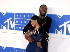 Rapper Meek Mill, pictured with his former girlfriend Nicki Minaj, has become a father for the third time (PA)
