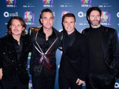 Mark Owen, Robbie Williams, Gary Barlow and Howard Donald of Take That (Ian West/PA)