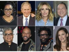 This combination photo shows, top row from left, media mogul Oprah Winfrey, former president George W. Bush, actress Julia Roberts and musician Yo-Yo Ma, bottom row from left, guru Deepak Chopra, rapper Common, musician Questlove, and actress Jennifer Garner, who are among the participants in the 24-hour livestream event, The Call to Unite (AP)
