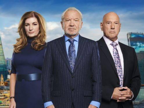 Baroness Brady, Lord Sugar and Claude Littner, from The Apprentice (BBC/PA)