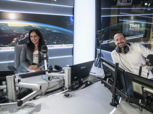 Times Radio broadcasters Aasmah Mir and Stig Abell (Richard Pohle/PA)
