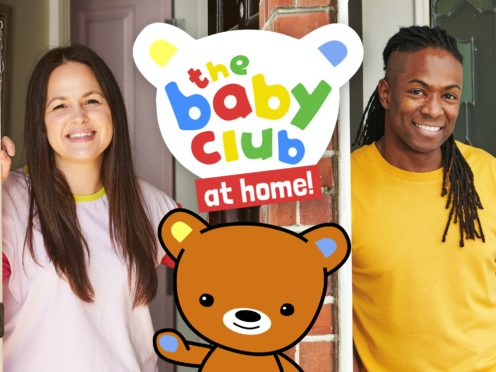 The Baby Club at Home features Giovanna Fletcher and Nigel Clarke (CBeebies/Three Arrows Media/PA)