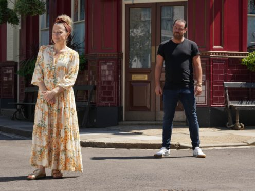 Kellie Bright and Danny Dyer on set during filming of Secrets From The Square (BBC/PA)