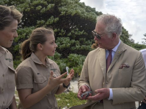 The Prince of Wales with Bindi Irwin (Steve Parsons/PA)